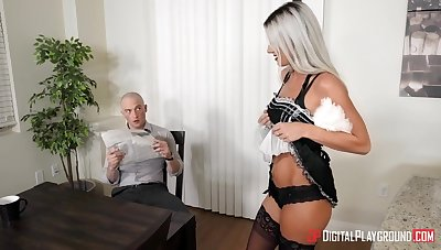 Crotchety long legged blonde secretary is poked in standing pose at work