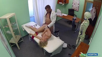 Curvy Blonde With A Sparkling wine Butt Accepts Dirty Doctor's Offer