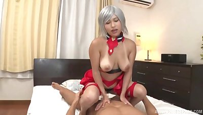 Busty Japanese doll handles the cock like a real porn goddess