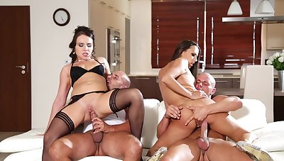 Cock swapping foursome for two slutty wives