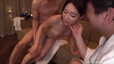 Hot Japanese beauty enjoying midnight cuckold pleasures