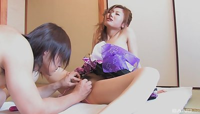 Japanese wife deals cock in gaga manners and poses wholeness