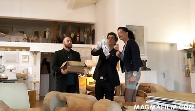 Munificent European lady is never so aroused than later on two men want to fuck her