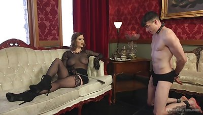 Sex-starved mistress Cherry Torn is shafting submissive  person and enjoys face housebound