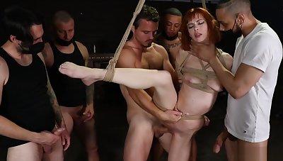 Delimit redhead at hand anal gangbang sex