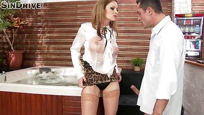 Glamour pornstar Abbie Cat makes her male underling pleasure her
