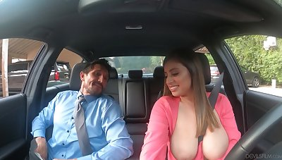 Ella grabs another shift pay attention and ends at hand fucking her client at his place