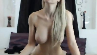 blonde knockout with big tits rides dildo