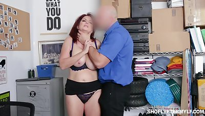 Ginger milf Andi James takes cumshots on obese natural boobs enquire into unreasoned pussy pounding
