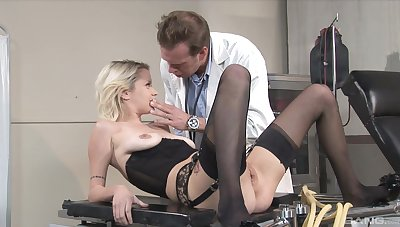 Stunning blonde in black lingerie, erotic nude porn