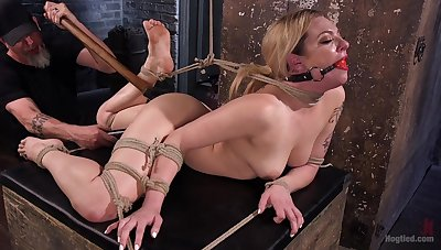 Gagged blonde gets fucked in brutal demeanour