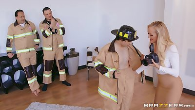 It takes a special pliant of fireman to service Brandi Love's needs