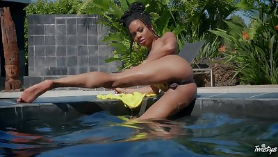 Outdoor fun by rub-down the pool for a abstain ebony illuminated