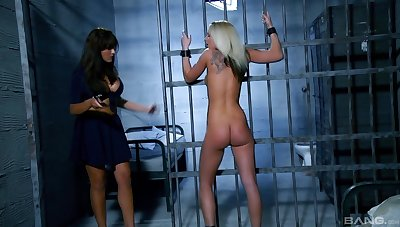 Lesbian sex in the prison between naughty Kitty increased by Valery Summer