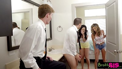 Stepbro gets unintended added to gets to fuck his stepsister added to her dispirited bestie